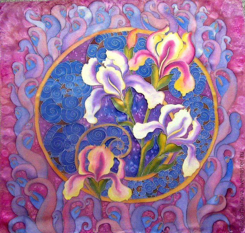 batik handkerchief, 'a romantic irises', Shawls1, Yaroslavl,  Фото №1