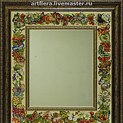 Для дома и интерьера handmade. Livemaster - original item Mirror Butterfly and flowers Painting pottery Painting ceramic tile. Handmade.