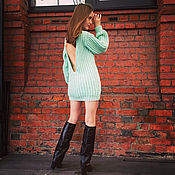 Одежда handmade. Livemaster - original item Light green sweater dress with open back. Handmade.