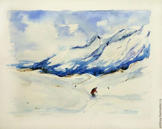 Пейзаж ручной работы. Ярмарка Мастеров - ручная работа. Купить Снежные вершины. Handmade. Синий, горный пейзаж, спортивный стиль
