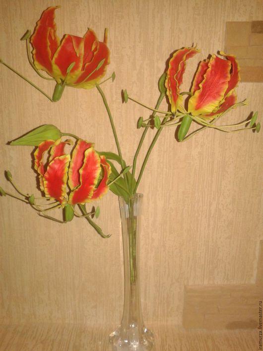 Искусственные растения ручной работы. Ярмарка Мастеров - ручная работа. Купить глориоза. цветы из полимерной глины. Handmade. Глориоза