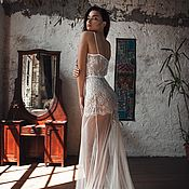 Одежда handmade. Livemaster - original item Long Tulle Bridal Nightgown With Lace F31(Lingerie), Bridal Lingerie. Handmade.