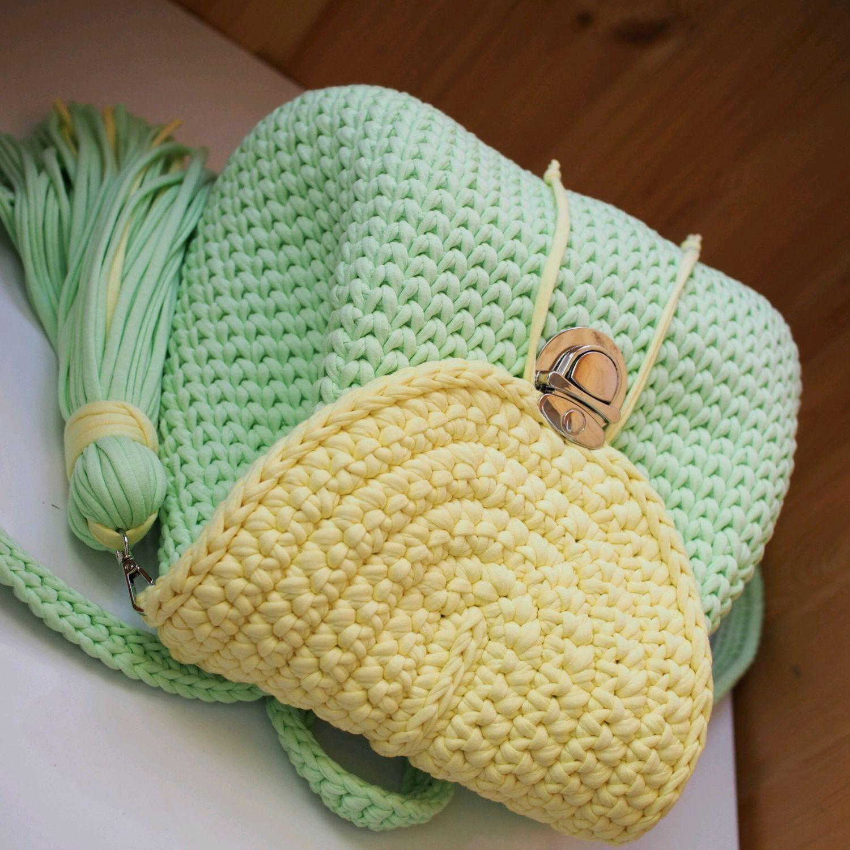 772700e17cd8 Ярмарка Мастеров - ручная работа. Купить Вязаный женский рюкзак мятный и Рюкзаки  ручной работы. Вязаный женский рюкзак мятный и светло-желтый.
