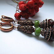 Украшения handmade. Livemaster - original item Earrings with jade and Malaita