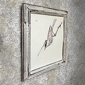 Картины и панно ручной работы. Ярмарка Мастеров - ручная работа картина Птичка на ветке (в рамочке, шебби шик, белый, серый). Handmade.