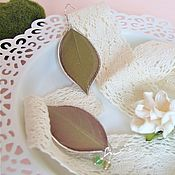 Украшения handmade. Livemaster - original item Resin earrings with Real Green Leaf Forest Fairy Botany Eco. Handmade.