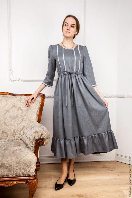 Платья ручной работы. Ярмарка Мастеров - ручная работа. Купить Платье в старинном стиле. Handmade. Серый, ретро, винтажный образ