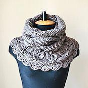 Аксессуары ручной работы. Ярмарка Мастеров - ручная работа Какао-шарф снуд-хомут вязаный женский. Handmade.