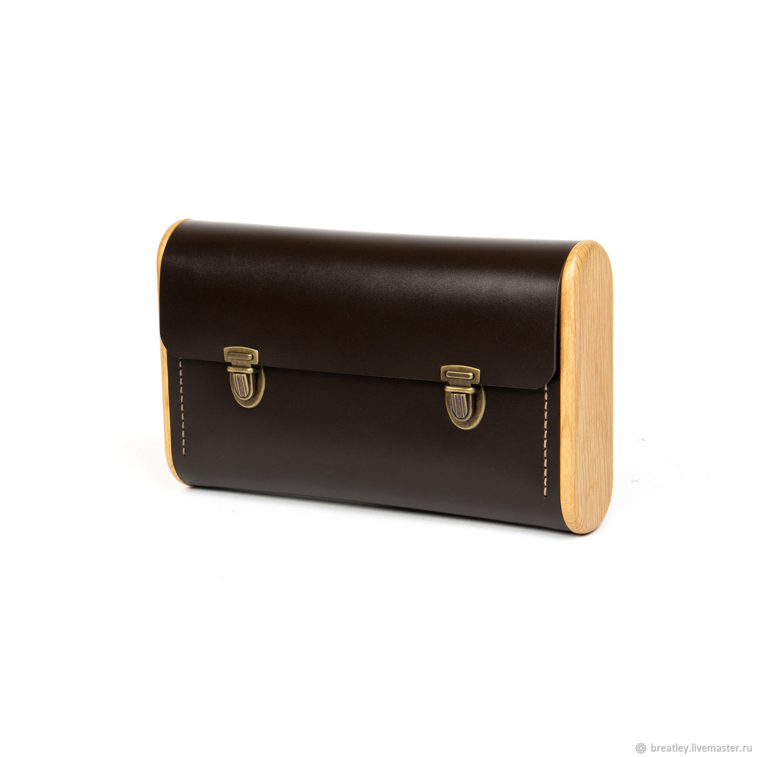 Classic clutch for women DOUBLE REEL dark brown, Clutches, Moscow,  Фото №1