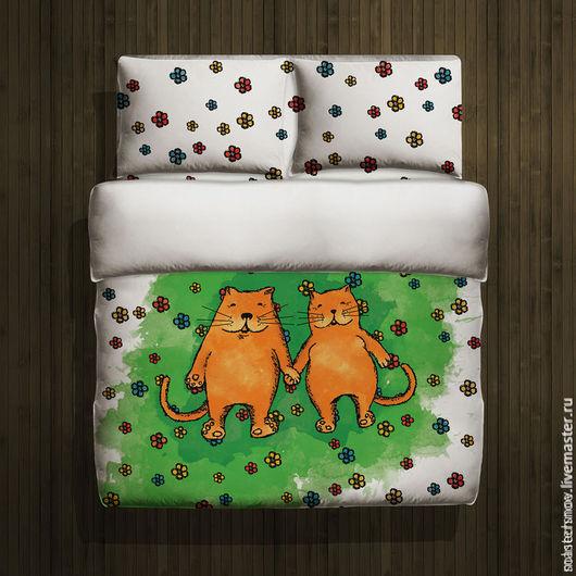 """Текстиль, ковры ручной работы. Ярмарка Мастеров - ручная работа. Купить 1,5 спальный комплект постельного белья""""На поляне"""". Handmade."""