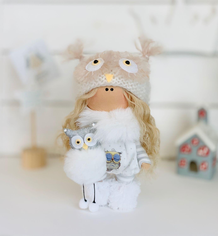 Текстильная интерьерная кукла с совой, Тыквоголовка, Москва,  Фото №1