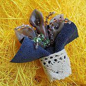 Украшения handmade. Livemaster - original item Brooch bouquet made of stones and leather Small La Provence Petite Provence. Handmade.