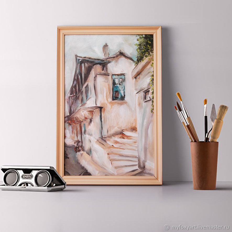 Street, oil painting on canvas, 20h30cm, in frame, city, Greece, Pictures, St. Petersburg,  Фото №1