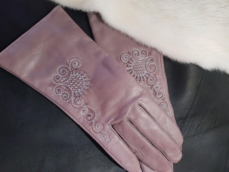 Перчатки  розовые с вышивкой, Перчатки, Торжок,  Фото №1