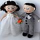 Человечки ручной работы. Ярмарка Мастеров - ручная работа. Купить Жених и невеста. Handmade. Белый, жених и невеста, полушерстяная пряжа