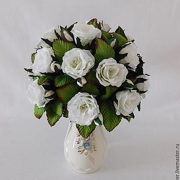 """Для дома и интерьера ручной работы. Ярмарка Мастеров - ручная работа Букет-светильник """"Белые Розы"""". Handmade."""