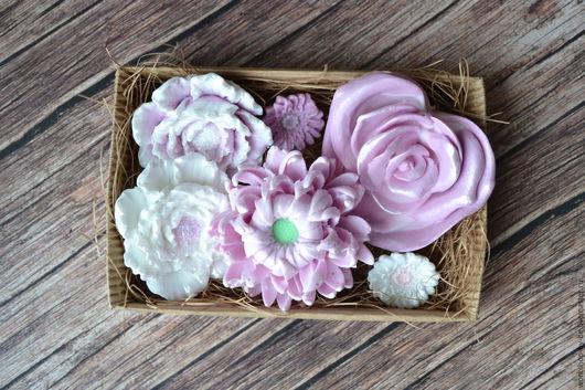 Мыло ручной работы. Ярмарка Мастеров - ручная работа. Купить Набор мыла цветочный 2. Handmade. Фиолетовый, мыло, основа