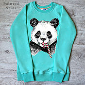 "Одежда handmade. Livemaster - original item Copy of sweatshirt women with the author print ""Panda"". Handmade."