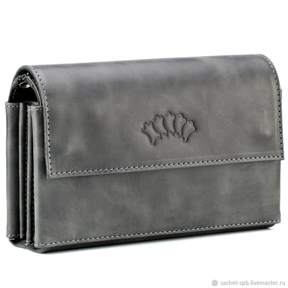 Leather clutch 'Alfred' (black antique), Clutches, St. Petersburg,  Фото №1