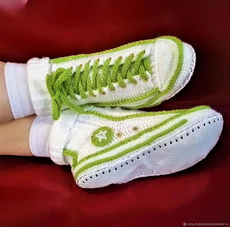 Вязаные кеды-тапочки. Вязаные носки. Вязаные тапочки, Тапочки, Бобров,  Фото №1