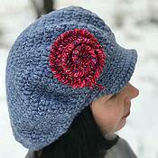 Аксессуары handmade. Livemaster - original item Warm grey bulk ladies cap Gavroche beret cap winter rose. Handmade.