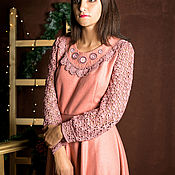 Одежда handmade. Livemaster - original item Warm dress with embroidery and knitted sleeves. Handmade.