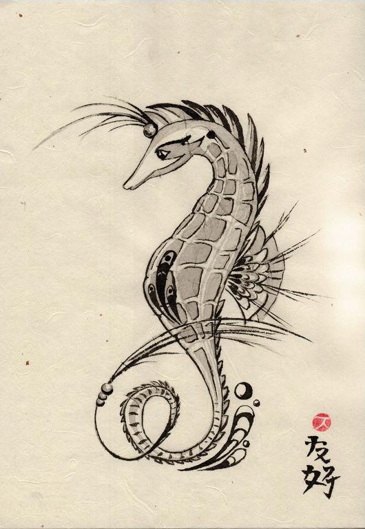 Животные ручной работы. Ярмарка Мастеров - ручная работа. Купить морской конек. Handmade. Чёрно-белый, графика рисунки, иероглиф