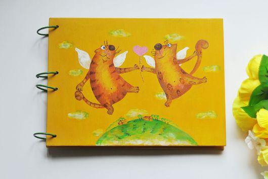Блокноты ручной работы. Ярмарка Мастеров - ручная работа. Купить скетчбук влюбленные коты. Handmade. Желтый, для акварели, на кольцах, для зарисовок
