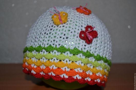 Шапки и шарфы ручной работы. Ярмарка Мастеров - ручная работа. Купить Летняя ажурная шапочка для девочки. Handmade. Комбинированный