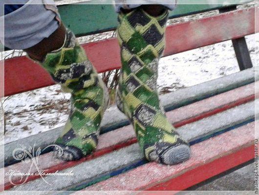 """Носки, Чулки ручной работы. Ярмарка Мастеров - ручная работа. Купить Носки """"Геометрия"""". Handmade. Зеленый, подарок, носки вязаные"""