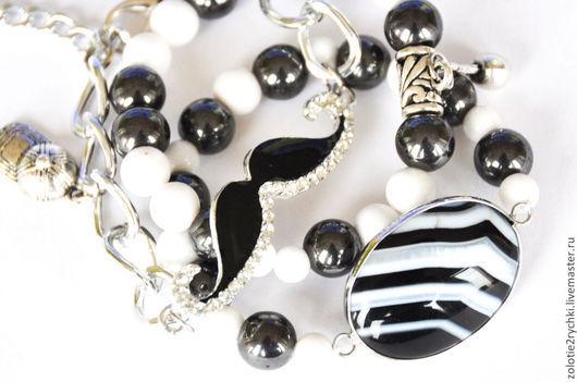 """Браслеты ручной работы. Ярмарка Мастеров - ручная работа. Купить Комплект браслетов """"Инь и Ян"""". Handmade. Чёрно-белый"""