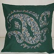 Для дома и интерьера ручной работы. Ярмарка Мастеров - ручная работа Подушка диванная Восточная 14 зеленая. Handmade.