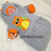 """Работы для детей, ручной работы. Ярмарка Мастеров - ручная работа Комбинезон-конверт для новорожденного """"Совенок"""" слитные ножки. Handmade."""