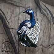 Украшения handmade. Livemaster - original item Brooch leather Peacock. Handmade.