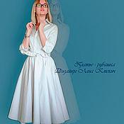 """Одежда ручной работы. Ярмарка Мастеров - ручная работа платье- рубашка с юбкой- клеш """"Платье белое миди"""". Handmade."""