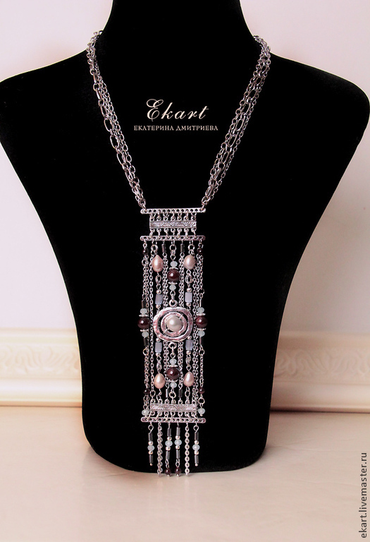 Necklace 'Polovtsian dances' with pearl and garnet, Necklace, Moscow,  Фото №1