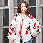 Одежда handmade. Livemaster - original item Embroidered blouse in Boho style Blouse linen Ethnic style free shipping. Handmade.