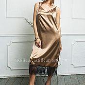 Одежда ручной работы. Ярмарка Мастеров - ручная работа Платье-комбинация в бельевом стиле бронзовое. Handmade.