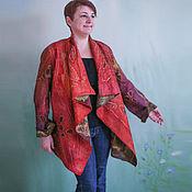 Одежда ручной работы. Ярмарка Мастеров - ручная работа Кардиган Гранатовый, батик на шелке, валяный из мериноса, двусторонний. Handmade.