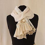 Аксессуары handmade. Livemaster - original item Cream summer scarf in boho style. Handmade.
