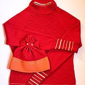 Одежда ручной работы. Ярмарка Мастеров - ручная работа Вязаный красный джемпер с золотой отделкой. Handmade.