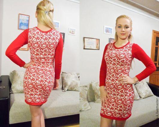 Платья ручной работы. Ярмарка Мастеров - ручная работа. Купить Вязаное платье. Handmade. Орнамент, красно-белый, полушерстяная пряжа