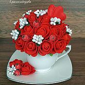 Подарки к праздникам ручной работы. Ярмарка Мастеров - ручная работа Композиция с розами. Handmade.
