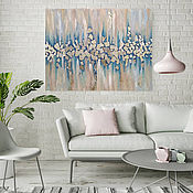 Pictures handmade. Livemaster - original item Painting for interior with silver on canvas Northern lights. Handmade.