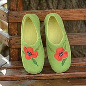 """Обувь ручной работы. Ярмарка Мастеров - ручная работа Валяные тапочки """"Маки"""". Handmade."""