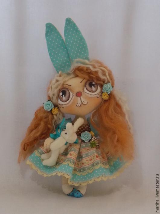 Коллекционные куклы ручной работы. Ярмарка Мастеров - ручная работа. Купить Нежность зайка. Handmade. Бирюзовый, кукла интерьерная