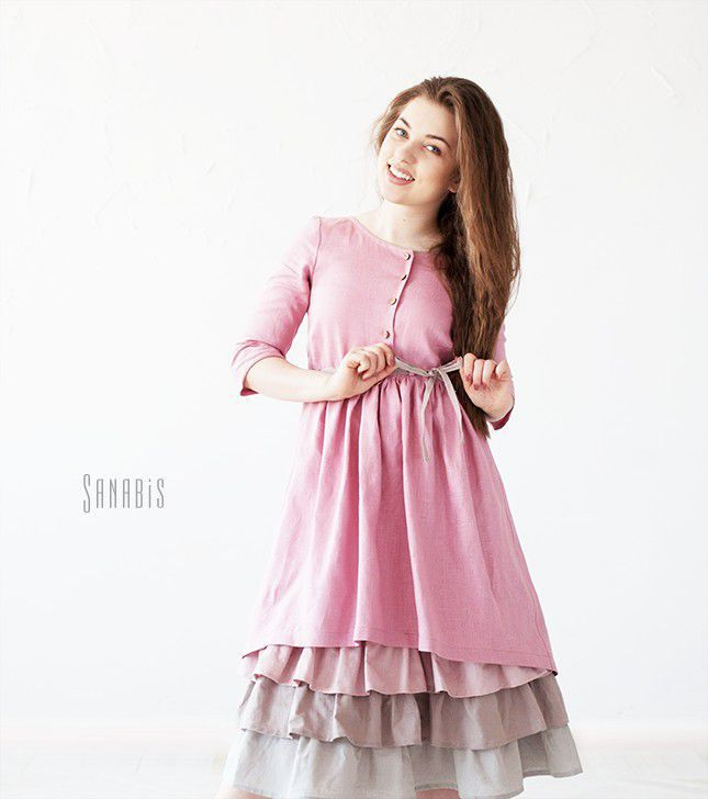ad60841592f Платья ручной работы. Ярмарка Мастеров - ручная работа. Купить Многослойное  платье из льна « ...