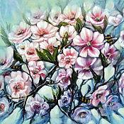 Картины и панно handmade. Livemaster - original item Oil painting flowers still life with a blooming branch Spring noise. Handmade.