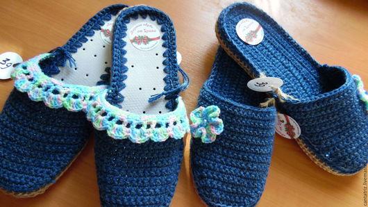 Обувь ручной работы. Ярмарка Мастеров - ручная работа. Купить Тапочки 38, 40 разм. Handmade. Шерсть 100%, хлопок