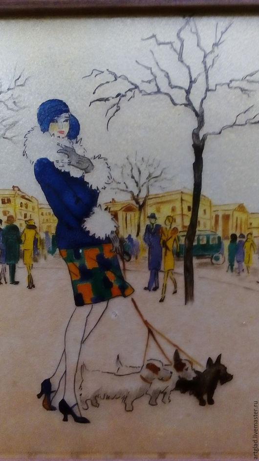 """Пейзаж ручной работы. Ярмарка Мастеров - ручная работа. Купить Картина на стекле """"Дама с собачками"""". Handmade. Авторская работа, люди"""